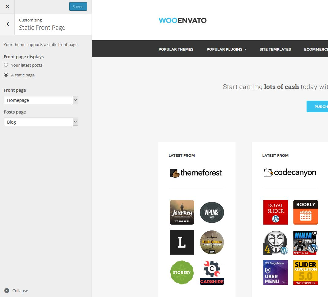 WooEnvato - Customize - Front Page