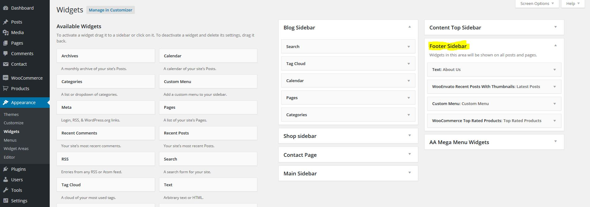 WooEnvato Footer Sidebar