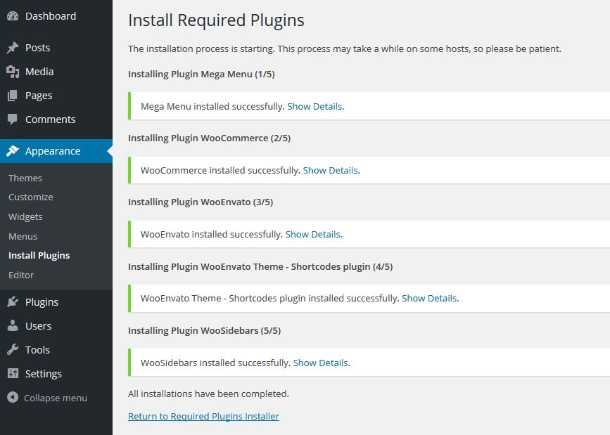 WooEnvato - Install required plugins4